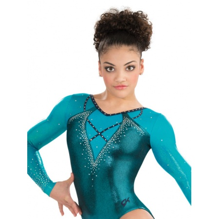 Trimmed up long sleeve leotard 7601