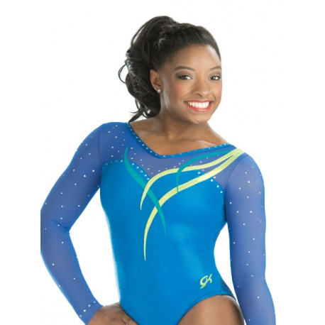 Cascading ribbon gymnastics leotard 7557