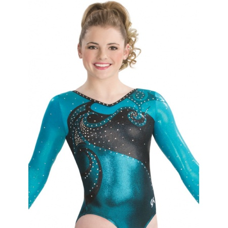 Feminine swirl long sleeve leotard 9588