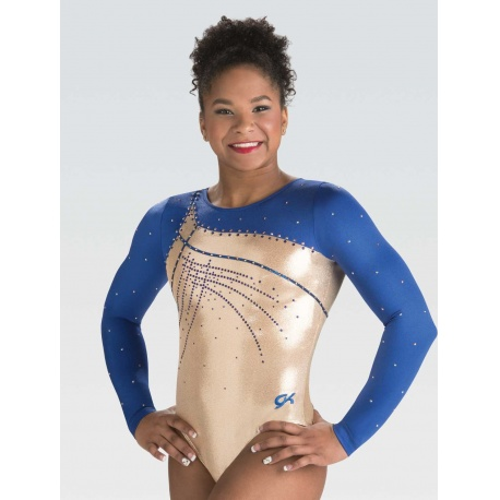 Wrapped zig zag trim gym leotard 7551
