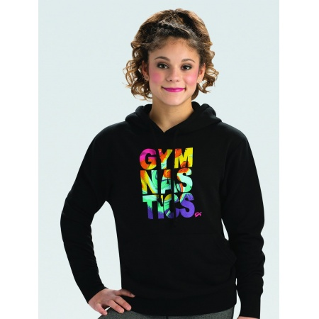 L1172 - GK Gymnastics Rainbow Graphic Black Hoodie